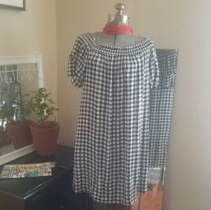 Classic Check stylish top/dress on or off shoulder
